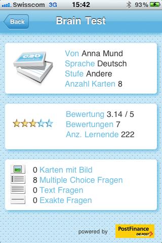 Mobiles Lernen: card2brain Kartei