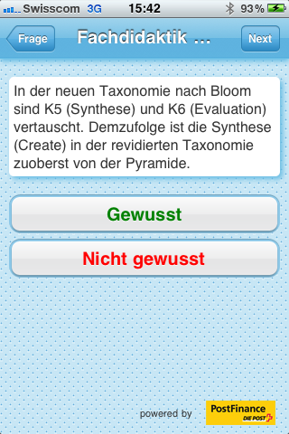 Mobiles Lernen: card2brain Antwortkarte